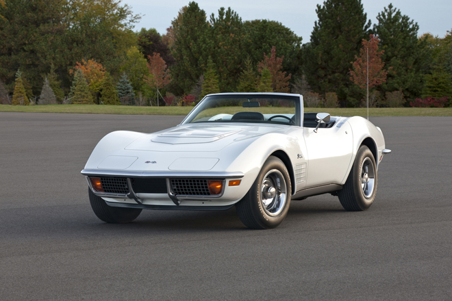 "1972 Chevrolet Corvette Stingray Coupe -- the third generation of the Corvette was produced from 1968 to 1982 and are referred to as ""shark Emodels by enthusiasts, for their aggressive styling. They are instantly identifiable by their prominent ""blistered Efender design and long dash-to-axle proportion, which gives them an exaggerated suggestion of motion"