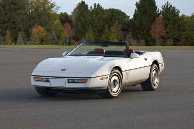 1987 Chevrolet Corvette Convertible -- the fourth generation of the Corvette was produced from 1983 to 1996 and  featured a new sleeker body design, achieving a 0.34 coefficient of drag that was nearly 25 percent less than the previous generation