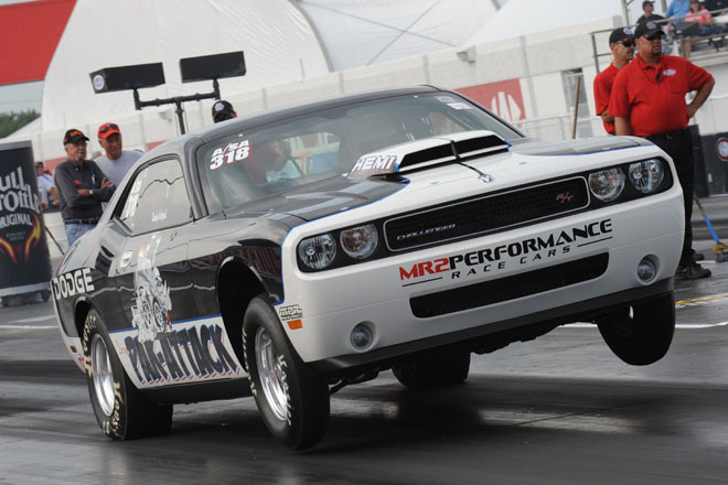 """Big Daddy"" Don Garlits drives his Mopar Dodge Challenger Drag P"
